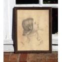 Portrait de femme encadré XIXe